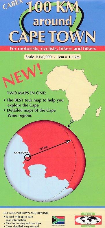 100 km around Cape Town 1:150.000 9780620472104  Cabex   Fietskaarten, Landkaarten en wegenkaarten Zuid-Afrika