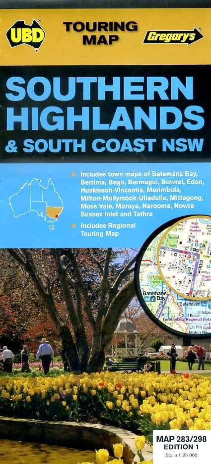 Southern Highlands & South Coast Map 9780731929733  UBD   Landkaarten en wegenkaarten Australië