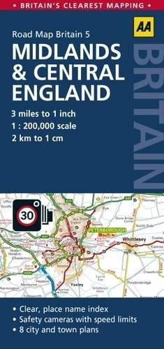 RM-05  Midlands and Central England 1:200.000 9780749577148  AA UK Road Maps  Landkaarten en wegenkaarten Midden- en Oost-Engeland