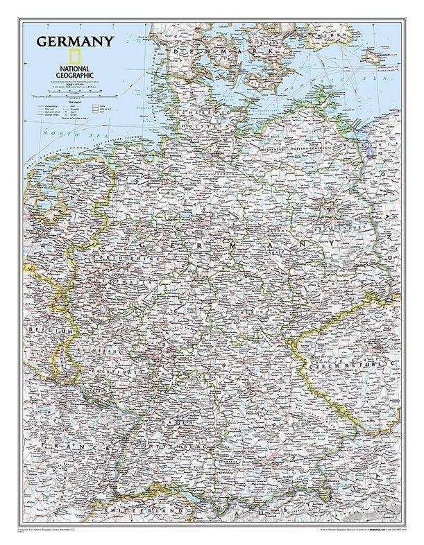 Duitsland 1:1.380.000 9780792249672  Nationap Geographic   Wandkaarten Duitsland