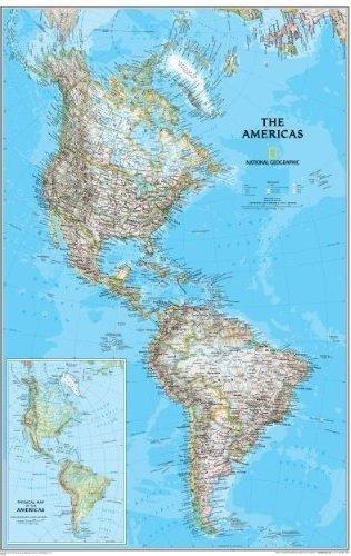 Noord- en Zuid-Amerika 59x92cm 9780792249924  National Geographic NG planokaarten  Wandkaarten Wereld als geheel
