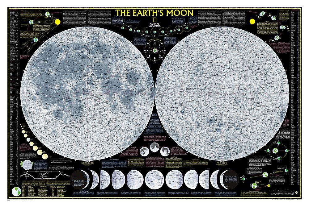 [22] De Maan (wandkaart) 9780792280941  National Geographic NG planokaarten  Wandkaarten Universum (Heelal)