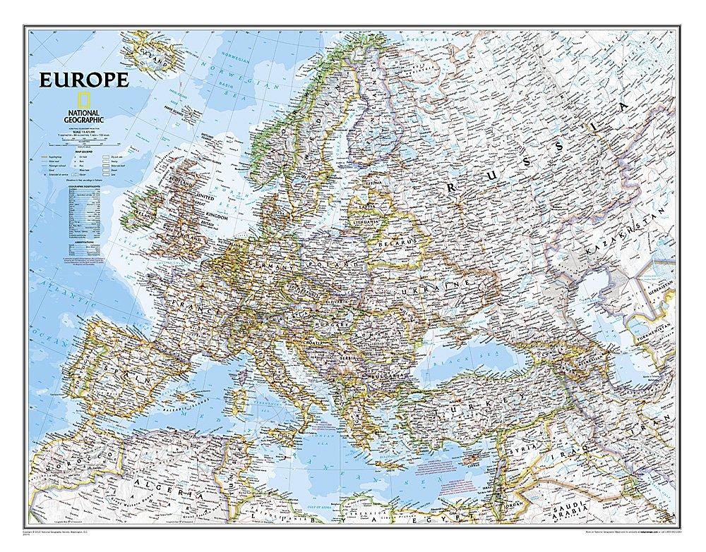 [06]  Europe, plano/papier  1:8.400.000 9780792281115  National Geographic NG planokaarten  Wandkaarten Europa