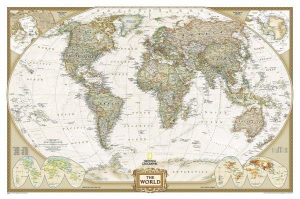 [19b] World Political Antique 1:20,97m. / PAPIER!! 9780792293170  National Geographic Soc. NG planokaarten  Wandkaarten Wereld als geheel