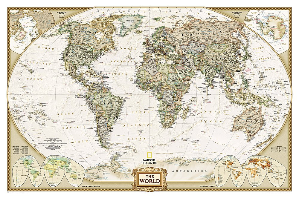 [18]  Executive World Map Pol. 1:36.380.000 PAPIER 9780792293392  National Geographic Soc. NG planokaarten  Wandkaarten, Cadeau-artikelen Wereld als geheel
