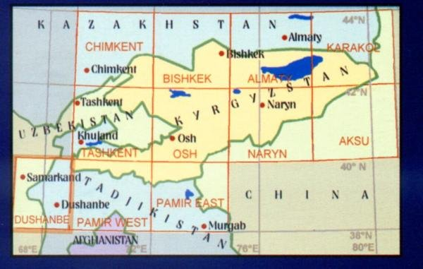 Dushanbe 9780906227848  EWP Central Asia 1:500t.  Landkaarten en wegenkaarten Centraal-Aziatische republieken (Kazachstan, Uzbekistan, Turkmenistan, Kyrgysztan, Tadjikistan)