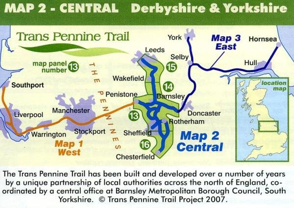 Map 2: Central  Derbyshire and Yorkshire 9780953227785  Trans Pennine Trail Project   Wandelkaarten Midlands, Cotswolds, Oxford, Northumberland, Yorkshire Dales & Moors, Peak District, Isle of Man