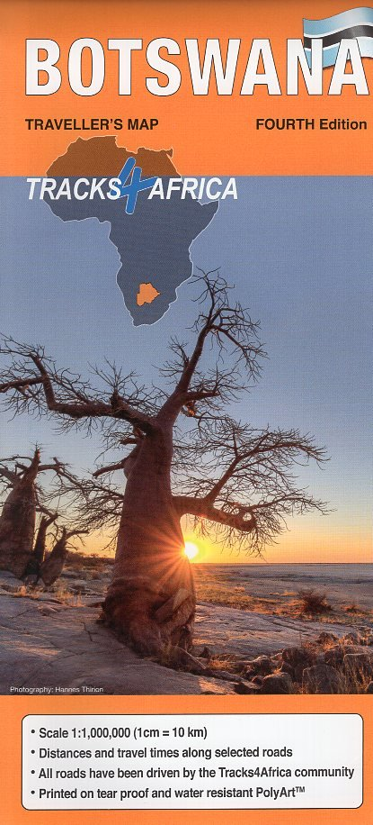 Botswana traveller's map (wegenkaart) 1:1.000.000 9780992183080  Tracks4Africa   Landkaarten en wegenkaarten Botswana, Namibië