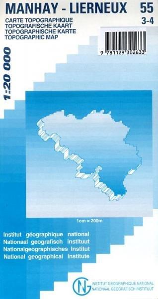 NGI-55/3-4  Bra-Lierneux, Manhay | topografische wandelkaart 1:20.000 9781129302633  NGI Belgie 1:20.000/25.000  Wandelkaarten Wallonië (Ardennen)