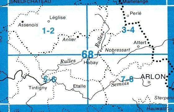 NGI-68/1-2  Assenois, Anlier | topografische wandelkaart 1:20.000 9781129303081  NGI Belgie 1:20.000/25.000  Wandelkaarten Wallonië (Ardennen)