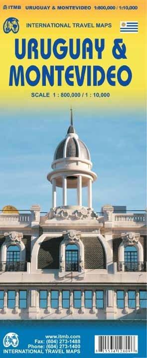 Uruguay + Montevideo | autokaart, stadsplattegrond 1:800.000/1:10.000 9781553412809  ITM   Landkaarten en wegenkaarten, Stadsplattegronden Paraguay, Uruguay