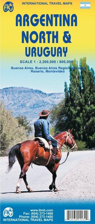 Noord-Argentinië & Uruguay | landkaart, autokaart 1:2.200.000 / 800.000 9781553415138  ITM   Landkaarten en wegenkaarten Chili, Argentinië, Patagonië