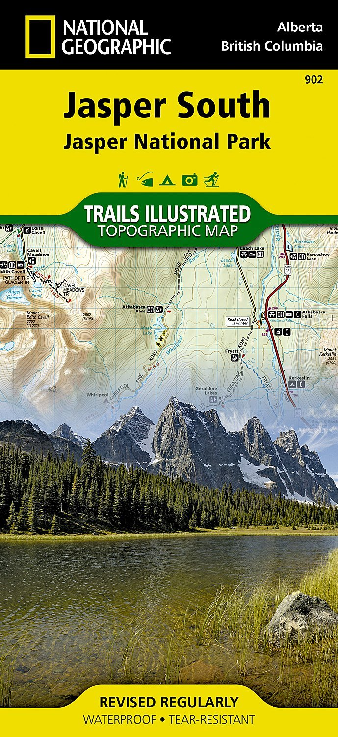 TI902  Jasper South 1:100.000 9781566956604  National Geographic Trails Illustrated  Wandelkaarten West-Canada, Rockies