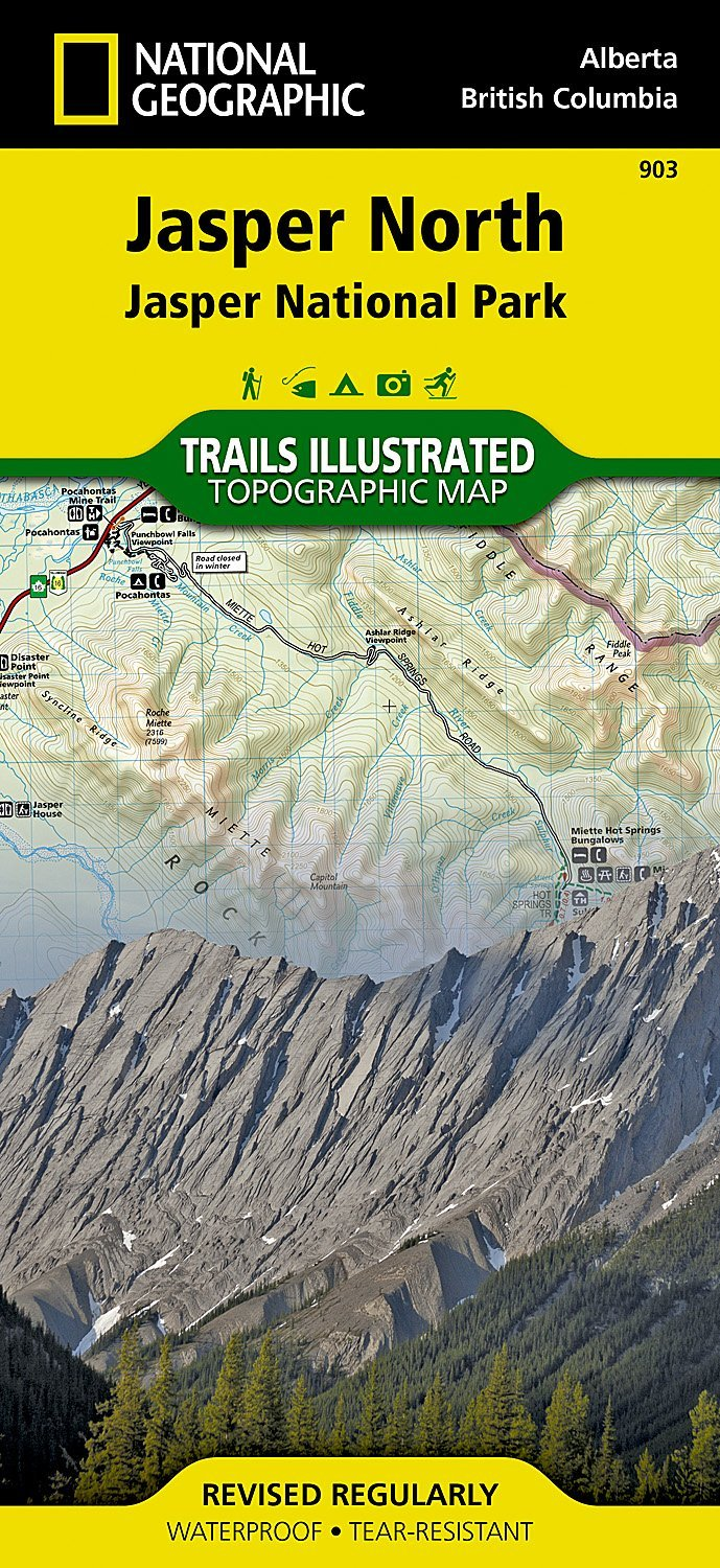 TI903  Jasper North 1:100.000 9781566956611  National Geographic Trails Illustrated  Wandelkaarten West-Canada, Rockies