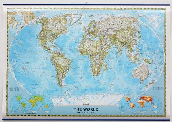 [03a] World Political 1:38milj., met metalen ophangstrips 9781597753333  National Geographic NG planokaarten  Wandkaarten Wereld als geheel