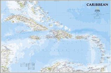 Caribbean 1:3.293.000 planokaart (ongevouwen, in koker) 9781597754408  National Geographic   Wandkaarten Caribisch Gebied
