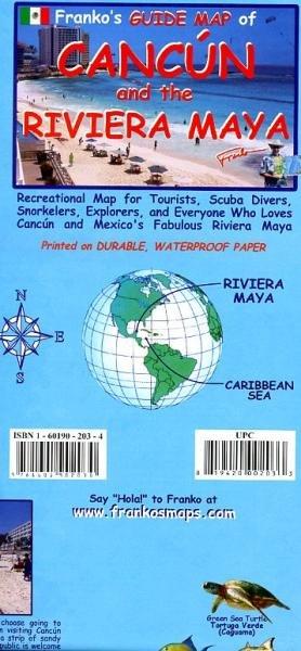 Cancun & Riviera Maya Guide & Dive Map var.scales 9781601902030  Franko's Maps   Duik sportgidsen Yucatan, Guatemala, Belize