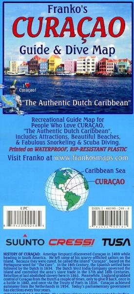 Curaçao 1:55.000 Guide & Dive Map + Willemstad plan 9781601902481  Franko's Maps   Landkaarten en wegenkaarten Aruba, Bonaire, Curaçao