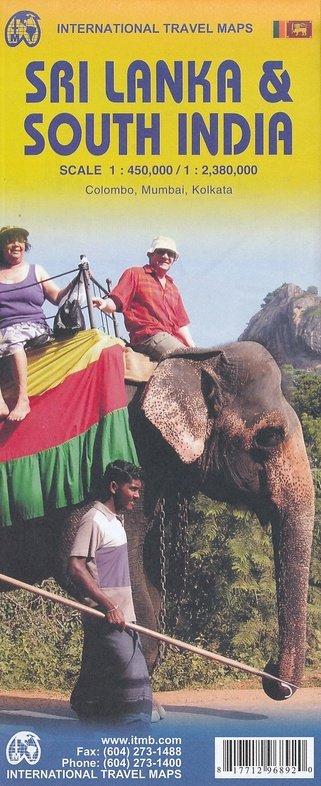 Southern India + Sri Lanka   landkaart, autokaart / waterproof 9781771296892  ITM   Landkaarten en wegenkaarten Sri Lanka