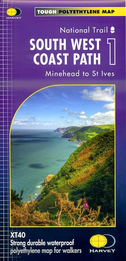 South West Coast Path (1) | wandelkaart 1:40.000 9781851375547  Harvey Maps   Meerdaagse wandelroutes, Wandelkaarten Zuidwest-Engeland