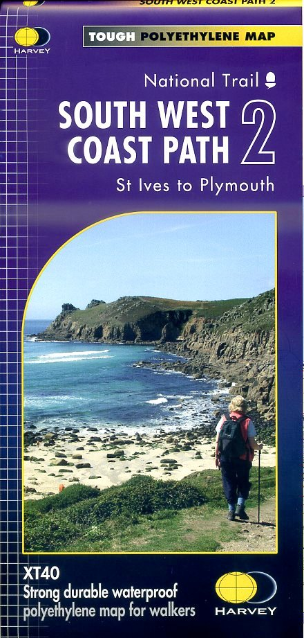 South West Coast Path (2) | wandelkaart 1:40.000 9781851375554  Harvey Maps   Meerdaagse wandelroutes, Wandelkaarten Zuidwest-Engeland