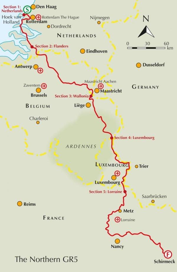 GR-5 | Benelux and Lorraine 9781852849597  Cicerone Press   Meerdaagse wandelroutes, Wandelgidsen Benelux, Lotharingen, Nancy, Metz