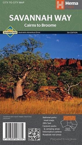 Savannah Way, Cairns to Broome 9781865007335  Hema Maps   Landkaarten en wegenkaarten Australië