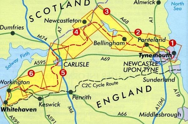 Reivers Cycle Route 9781871149326  Footprint   Fietskaarten Northumberland, Yorkshire Dales & Moors, Peak District, Isle of Man