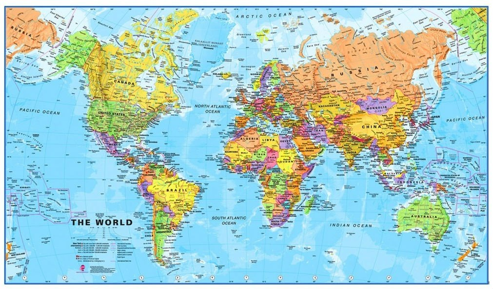 [29a] Wereldkaart 1:40miljoen / wandkaart met ophanglatjes 9781903030752  MAPS International   Wandkaarten Wereld als geheel