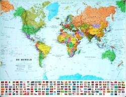 [29] Wereldkaart (pol.) 1:60m., gelamineerd 9781903030899  MAPS International   Wandkaarten Wereld als geheel