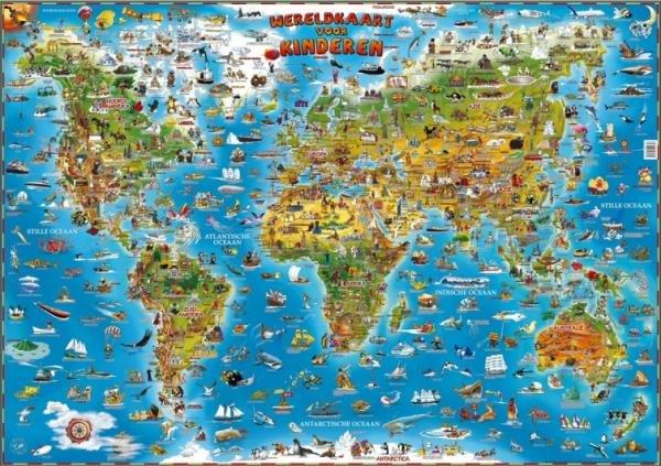 [28] Geïllustreerde Wereldkaart voor Kinderen 9781905502356  Dino Children's Maps   Kinderboeken, Wandkaarten Wereld als geheel
