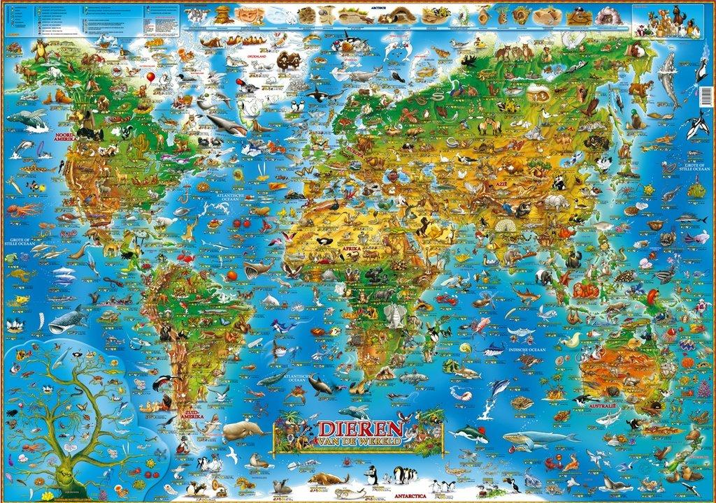 Dieren van de Wereld 9781905502592  Dino Children's Maps   Kinderboeken, Wandkaarten Wereld als geheel