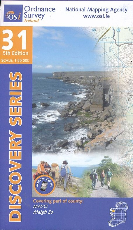DM-31  Mayo, Central 9781908852755  Ordnance Survey Ireland Discovery Maps 1:50.000  Wandelkaarten Ierland West- en Zuid