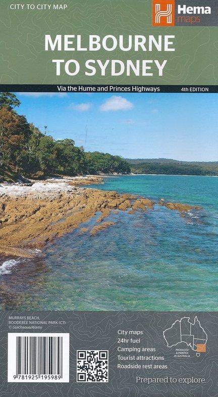 Melbourne to Sydney 1:900.000 9781925195989  Hema Maps   Landkaarten en wegenkaarten Australië