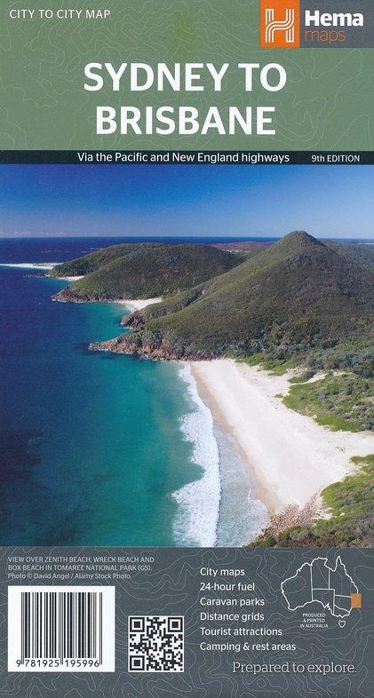 Sydney to Brisbane 1:900.000 9781925195996  Hema Maps   Landkaarten en wegenkaarten Australië