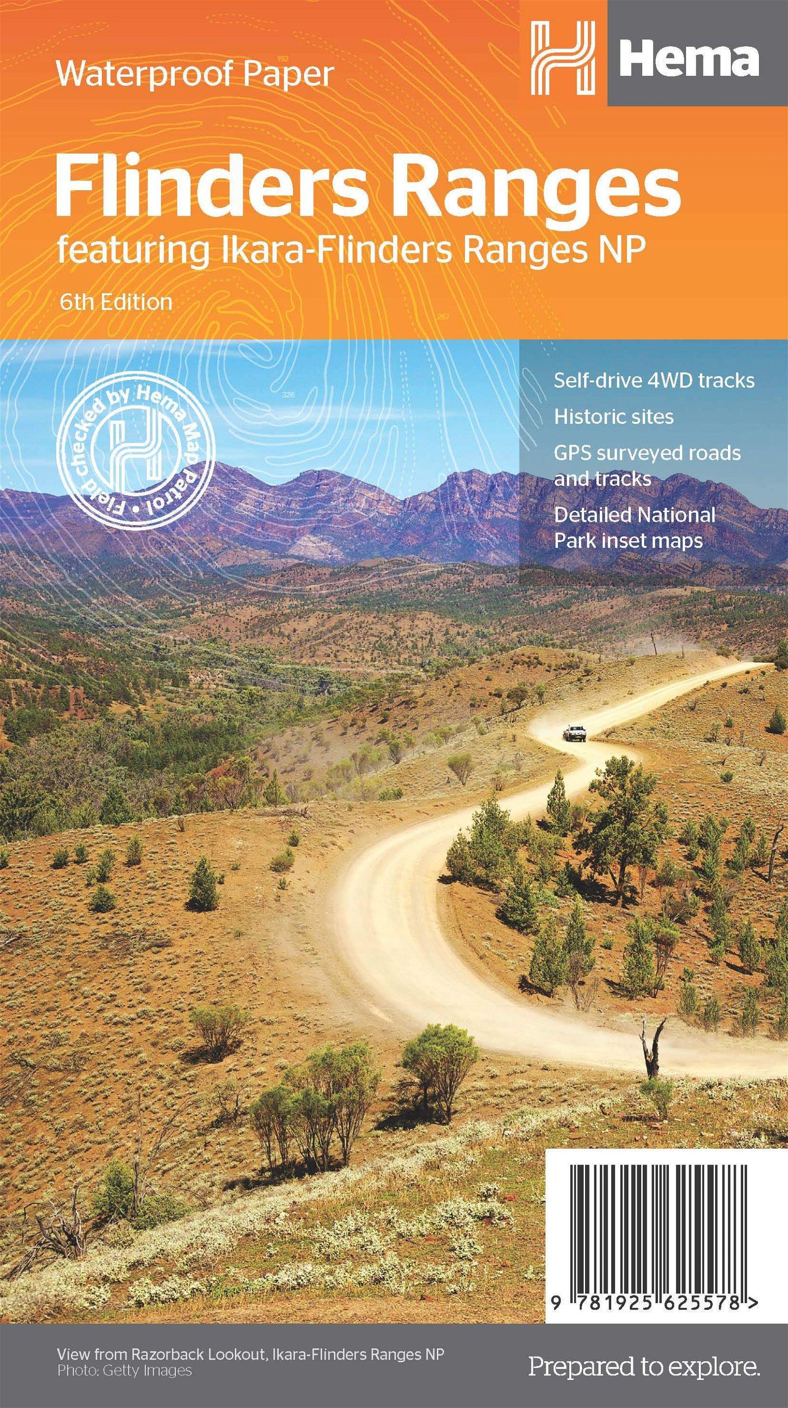 Flinders Ranges overzichtskaart 1:400.000 / 180.000 / 130.000 9781925625578  Hema Maps   Landkaarten en wegenkaarten Australië