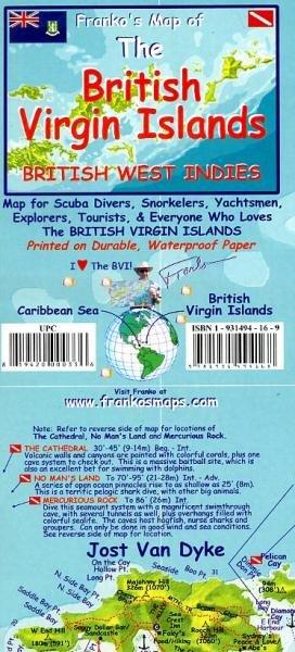 British Virgin Islands Diving Map 1:110.000 / 75.000 9781931494168  Franko's Maps   Duik sportgidsen Overig Caribisch gebied
