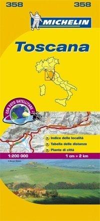 358 Toscane | Michelin  wegenkaart, autokaart 1:200.000 9782067127203  Michelin Michelin Italië 1:200.000  Landkaarten en wegenkaarten Toscane, Umbrië, de Marken