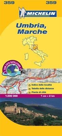 359 Umbria, Marche | Michelin  wegenkaart, autokaart 1:200.000 9782067127210  Michelin Michelin Italië 1:200.000  Landkaarten en wegenkaarten Toscane, Umbrië, de Marken