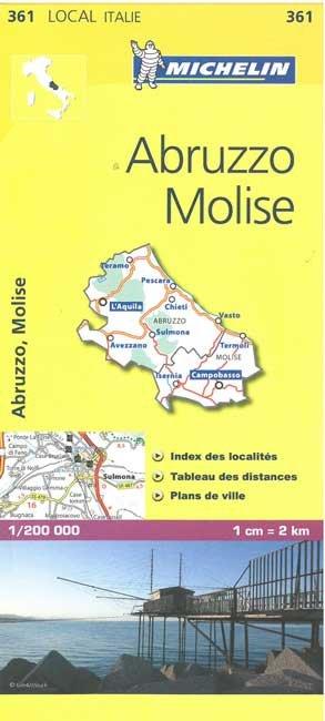 361 Abruzzo, Molise | Michelin  wegenkaart, autokaart 1:200.000 9782067127234  Michelin Michelin Italië 1:200.000  Landkaarten en wegenkaarten Rome, Abruzzen