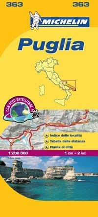 363 Puglia | Michelin  wegenkaart, autokaart 1:200.000 9782067127258  Michelin Michelin Italië 1:200.000  Landkaarten en wegenkaarten Napels en Zuid-Italië