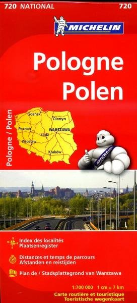 720  Polen 1:700.000 9782067171558  Michelin   Landkaarten en wegenkaarten Polen