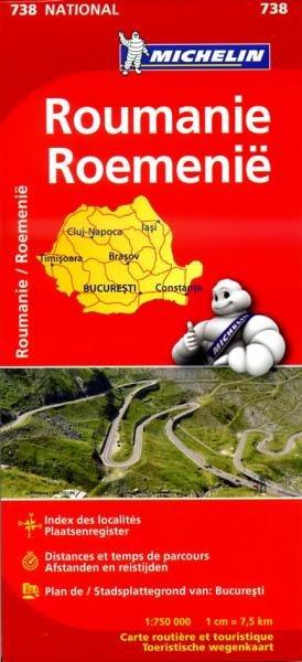 738  Roemenië [wegenkaart] 9782067172098  Michelin Michelin 1:750.000  Landkaarten en wegenkaarten Roemenië, Moldavië