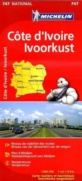 747 Côte d Ivoire 1:800.000 9782067172586  Michelin   Landkaarten en wegenkaarten West-Afrikaanse kustlanden (van Senegal tot en met Nigeria)
