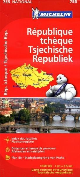 755  Tsjechische Republiek 1:450.000 9782067172951  Michelin   Landkaarten en wegenkaarten Tsjechië