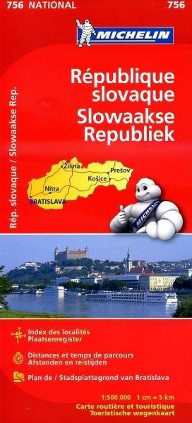 756  Slowakije 1:500.000 9782067173019  Michelin   Landkaarten en wegenkaarten Slowakije