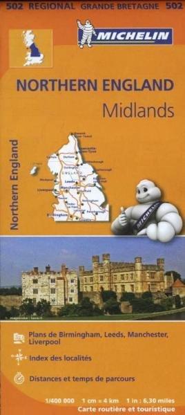 502 Engeland, Noord-/ Midlands | Michelin  wegenkaart, autokaart 1:400.000 9782067183230  Michelin   Landkaarten en wegenkaarten Noord-Engeland