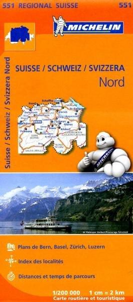 551  Suisse Nord | Michelin  wegenkaart, autokaart 1:200.000 9782067183704  Michelin   Landkaarten en wegenkaarten Zwitserland