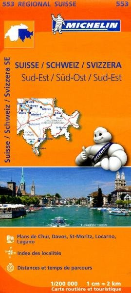 553  Suisse Sud-Est | Michelin  wegenkaart, autokaart 1:200.000 9782067183766  Michelin   Landkaarten en wegenkaarten Zwitserland