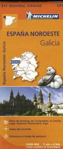 571  Galicia | Michelin  wegenkaart, autokaart 1:400.000 9782067184077  Michelin Michelin Spanje Regionaal  Landkaarten en wegenkaarten Noordwest-Spanje, Compostela, Picos de Europa